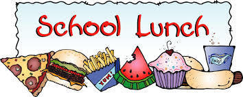 School lunch- picture of pizza, hamburger, fries, watermelon, cupcake, hot dog, and drink